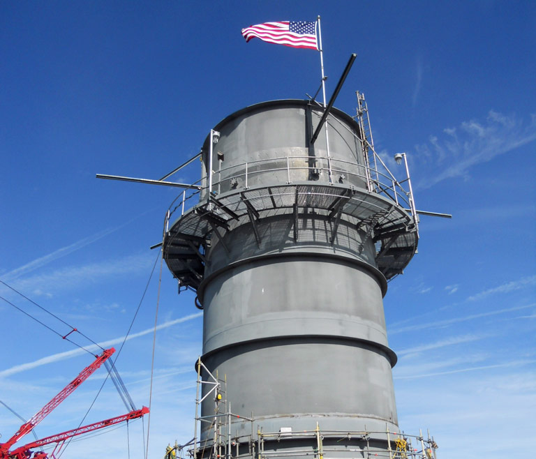 Steel Exhaust Stack Fabricated by Southeastern Construction with American Flag Flying